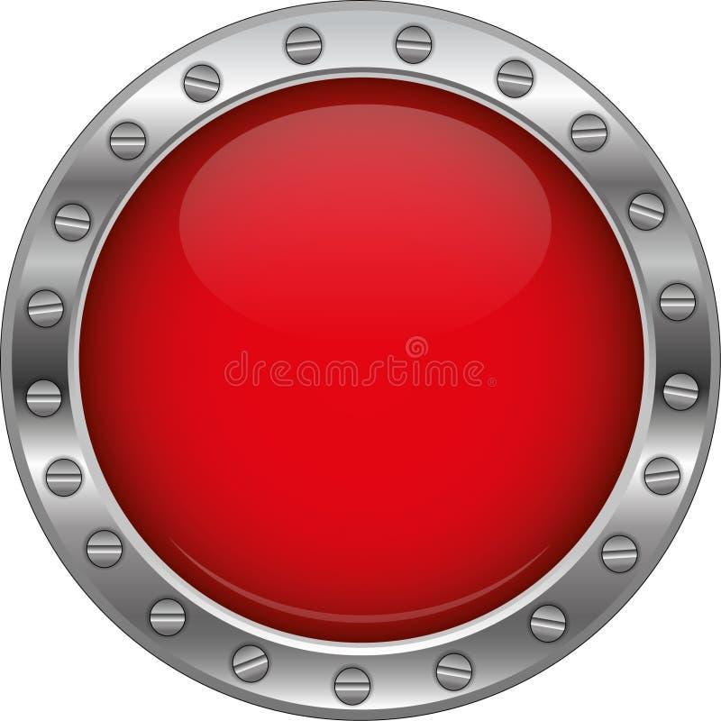 Красная лоснистая металлическая кнопка иллюстрация вектора