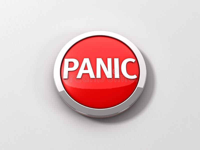 Красная отражательная тревожная кнопка с кольцом хрома на белой предпосылке иллюстрация вектора