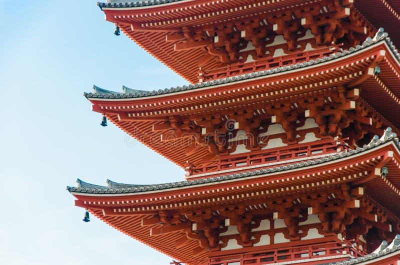 Красная пагода на виске Sensoji стоковое фото rf