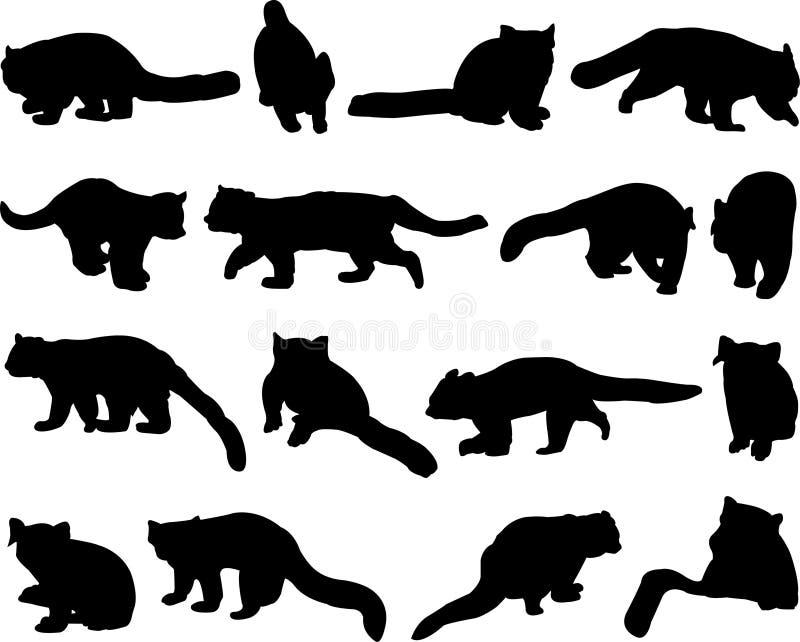 Красная панда или меньший контур силуэта панды бесплатная иллюстрация