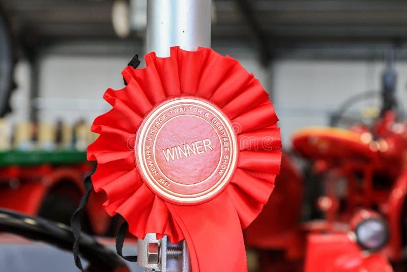 Красная первая розетка победителя стоковое изображение
