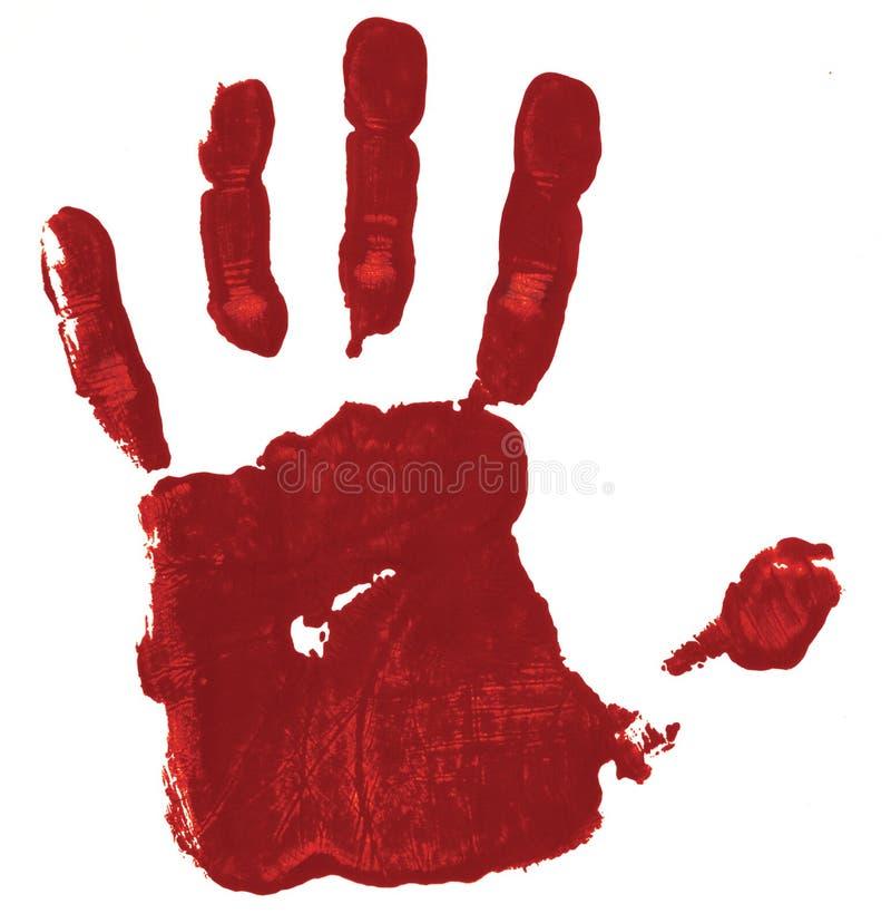 Красная печать руки на белой предпосылке стоковое изображение