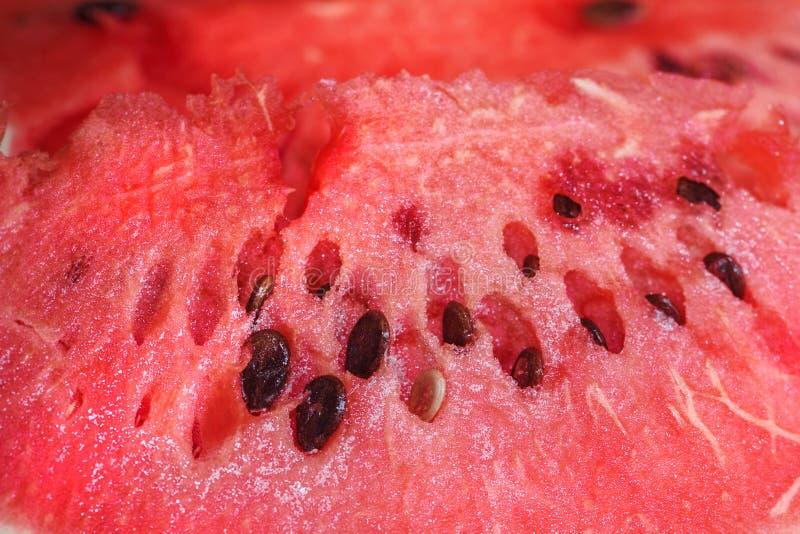 Красная плоть зрелого арбуза стоковое фото rf