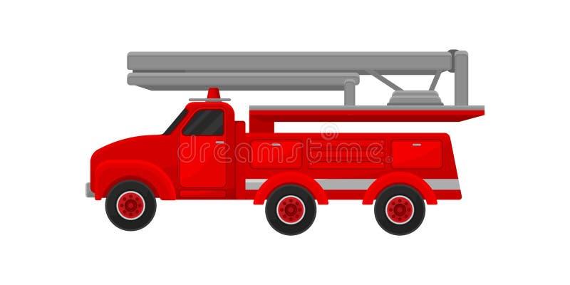 Красная пожарная машина двигателя, чрезвычайное обслуживани для иллюстрации вектора деятельности firefighting на белой предпосылк иллюстрация вектора
