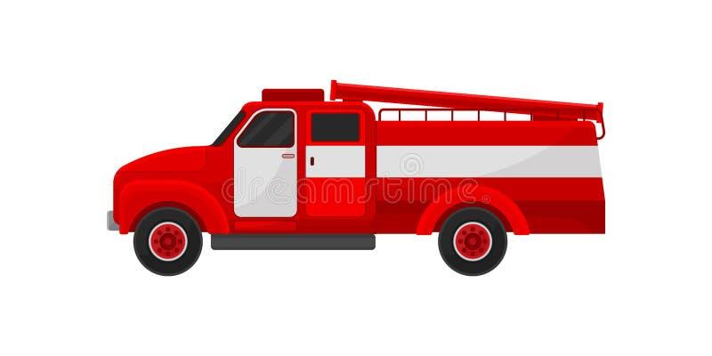Красная пожарная машина, чрезвычайное обслуживани для иллюстрации вектора деятельности firefighting на белой предпосылке иллюстрация штока