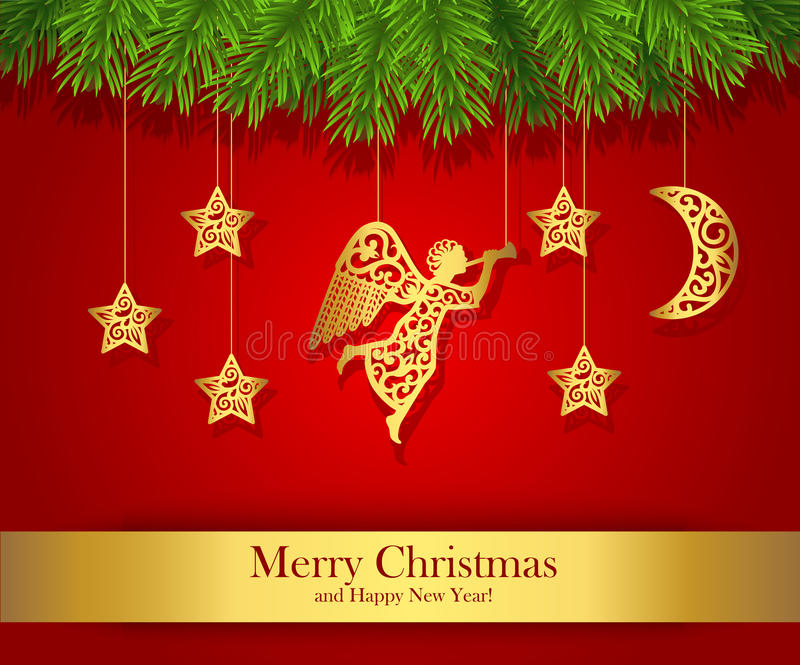 Красная поздравительная открытка рождества украшенная с ангелом золота бесплатная иллюстрация