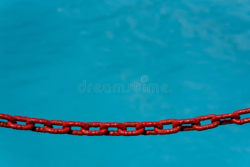 Красная покрашенная цепь как барьер к падать в ледниковое плавит голубой океан, как предпосылка стоковое фото
