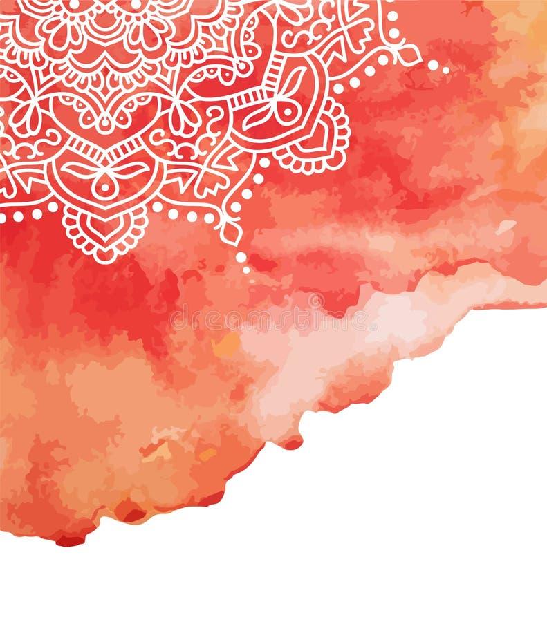 Красная предпосылка краски акварели с белой рукой нарисованной вокруг doodles и мандал дизайн фона бесплатная иллюстрация