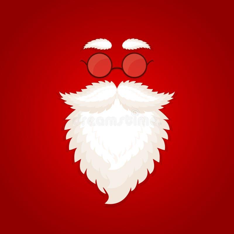 Красная предпосылка рождества с бородой и стеклами Санты иллюстрация вектора