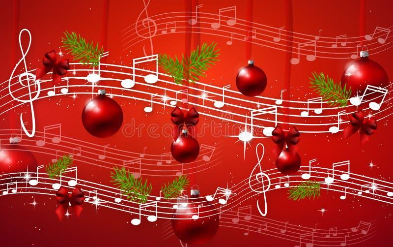 Красная предпосылка рождества с примечаниями иллюстрация штока