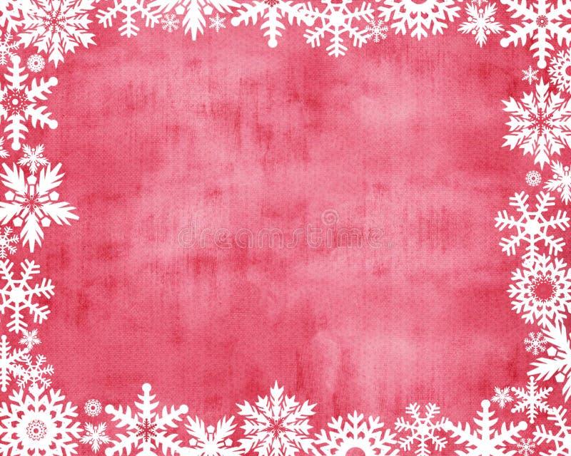 Красная предпосылка с белым краем снежинки стоковые фото