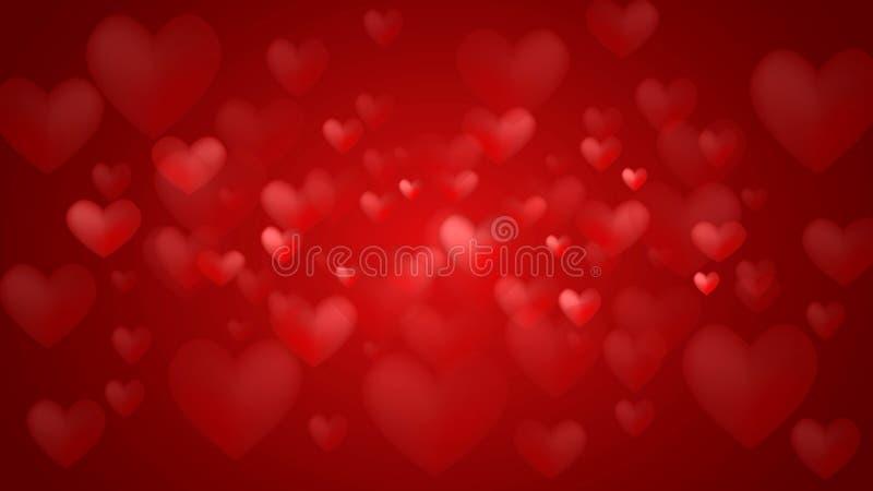 Красная предпосылка с красными и розовыми сердцами стоковое изображение rf