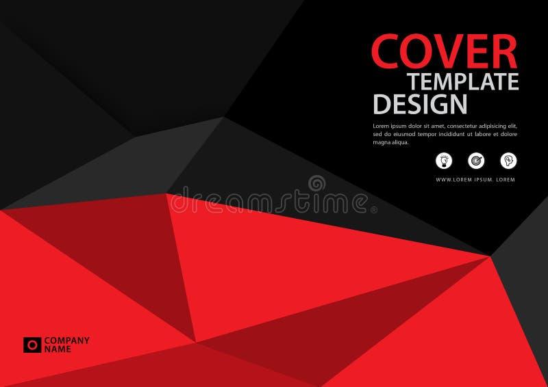 Красная предпосылка шаблона крышки полигональная, горизонтальный план, рогулька брошюры дела, годовой отчет, книга бесплатная иллюстрация