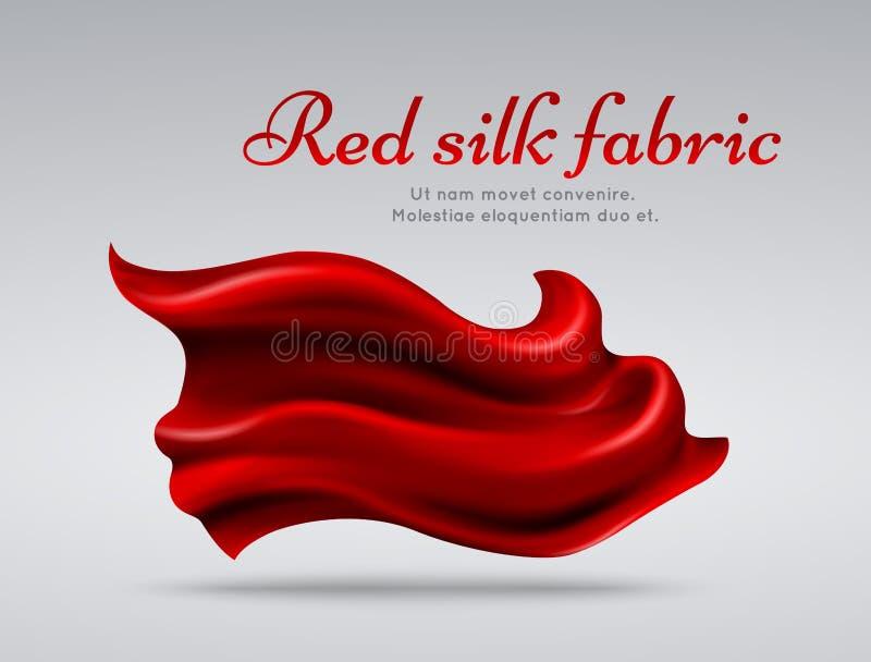 Красная предпосылка вектора abstact silk ткани летания иллюстрация вектора