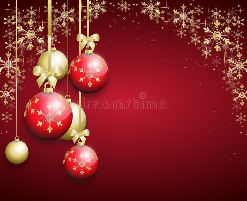 Красная предпосылка рождества украшенная с шариками рождества иллюстрация штока