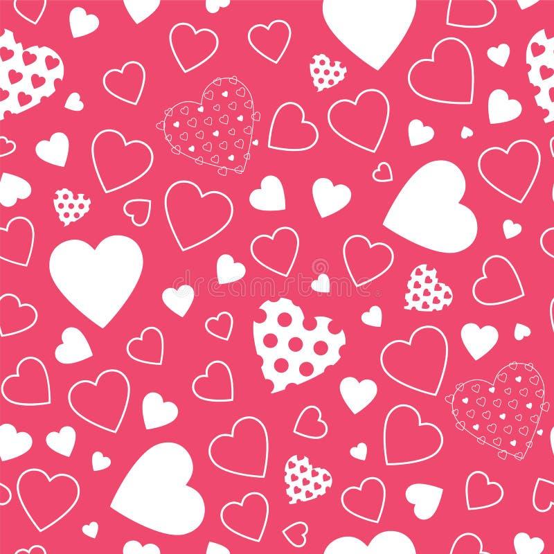 Красная предпосылка сердец иллюстрация вектора