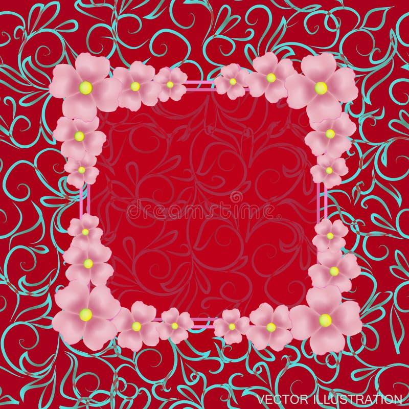 Красная предпосылка с границей, цветками и орнаментами также вектор иллюстрации притяжки corel иллюстрация вектора