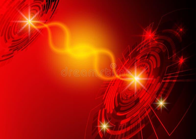 Красная предпосылка технологии круга, абстрактная цифровая концепция иллюстрация вектора