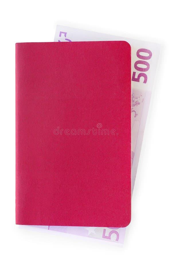 Красная предусматрива документа или тетради с, который гнездят примечанием евро стоковое изображение rf