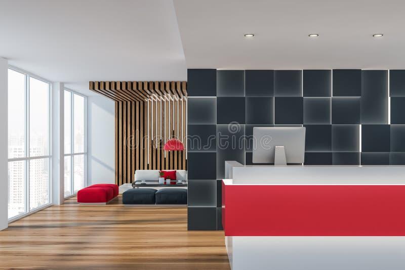 Красная приемная в гостиной офиса бесплатная иллюстрация