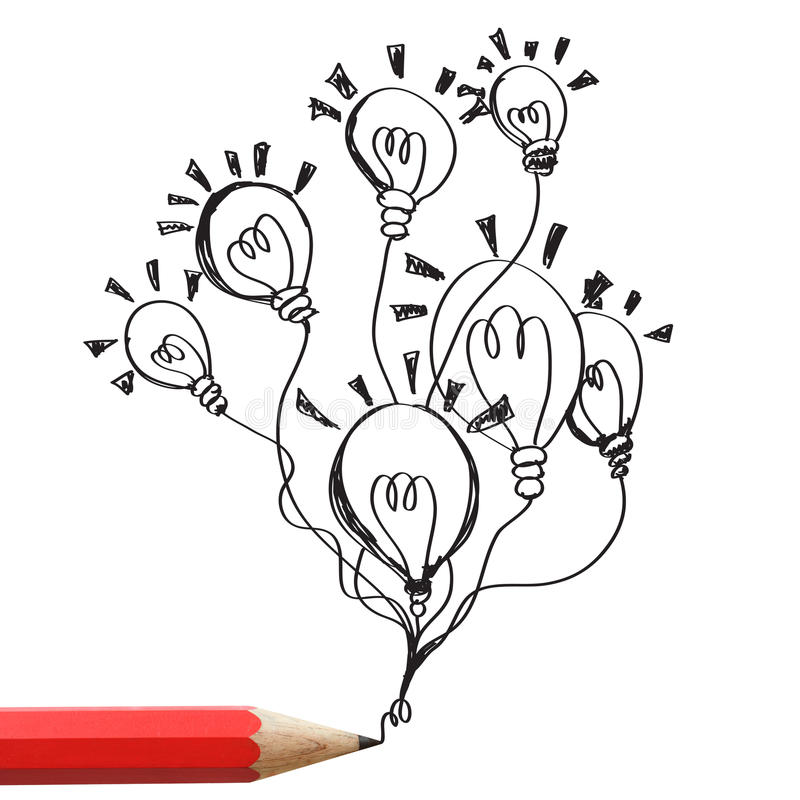 Красная принципиальная схема идеи электрических лампочек чертежа карандаша. иллюстрация штока