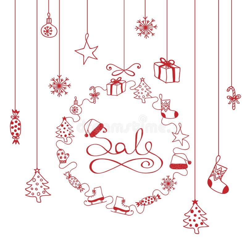 Красная ПРОДАЖА знамени рождества с атрибутами рождества иллюстрация вектора