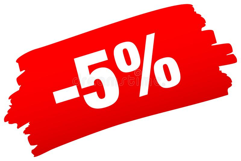 Красная продажа Brushstroke минус 5 процентов иллюстрация штока