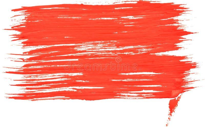 Красная прямоугольная щетка пятна краски текстуры акварели иллюстрация вектора