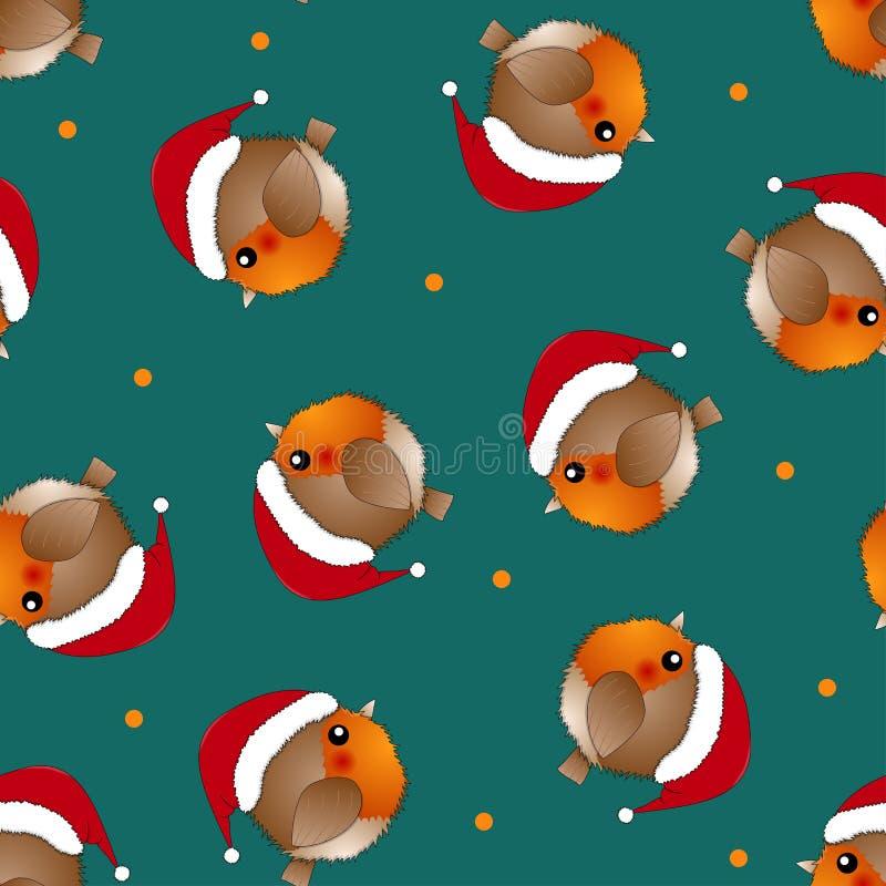 Красная птица Санта Клаус Робина на зеленой предпосылке также вектор иллюстрации притяжки corel иллюстрация штока