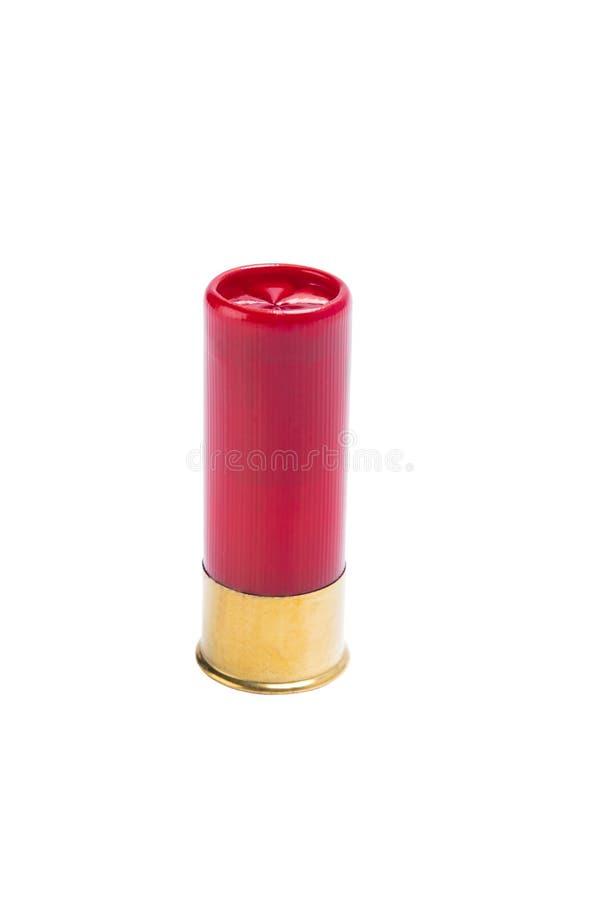 Красная пуля для корокоствольного оружия с большой съемкой, на белой предпосылке стоковые фото
