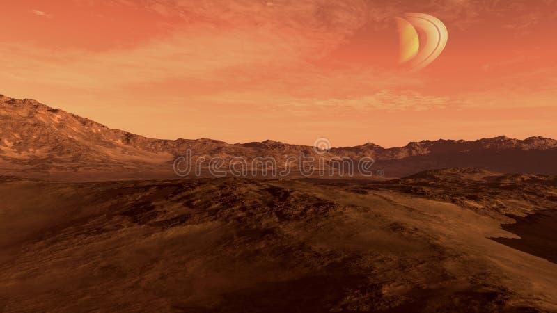 Красная планета с похожей на Сатурн луной бесплатная иллюстрация
