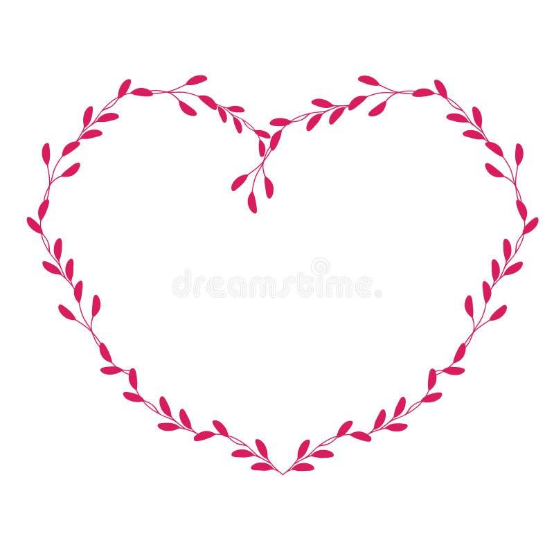 Красная рамка вектора в форме сердца Вручите вычерченную винтажную иллюстрацию EPS10 вектора литерности каллиграфии бесплатная иллюстрация