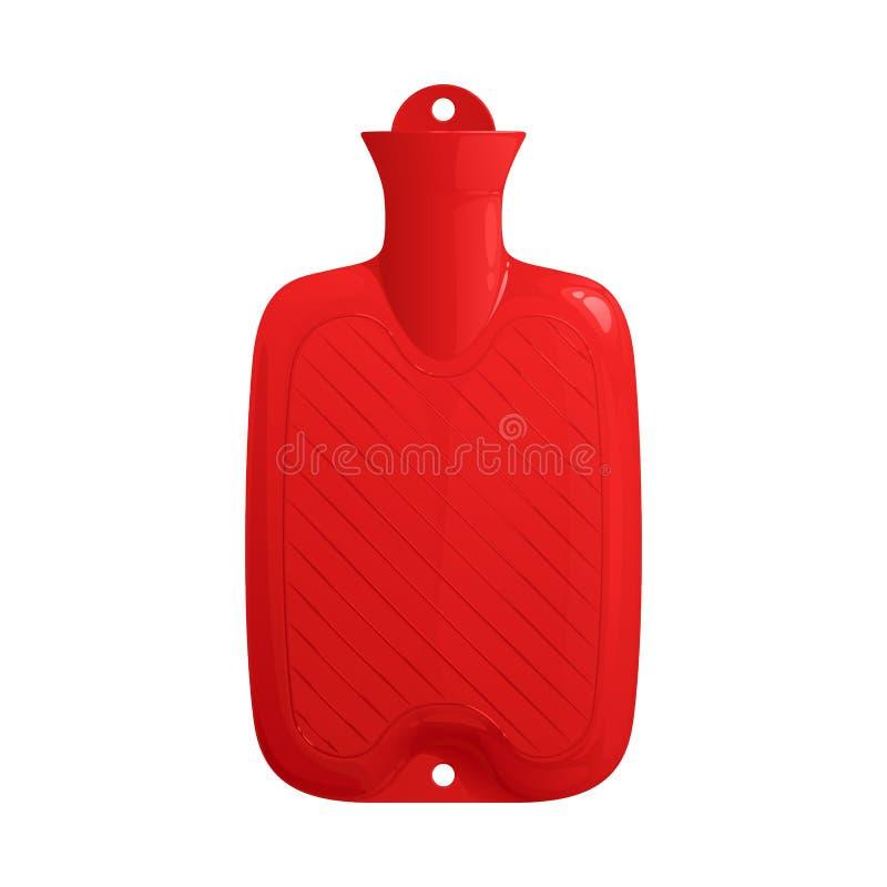 Красная резиновая медицинская горячеводная бутылка заполнила с водой иллюстрация вектора