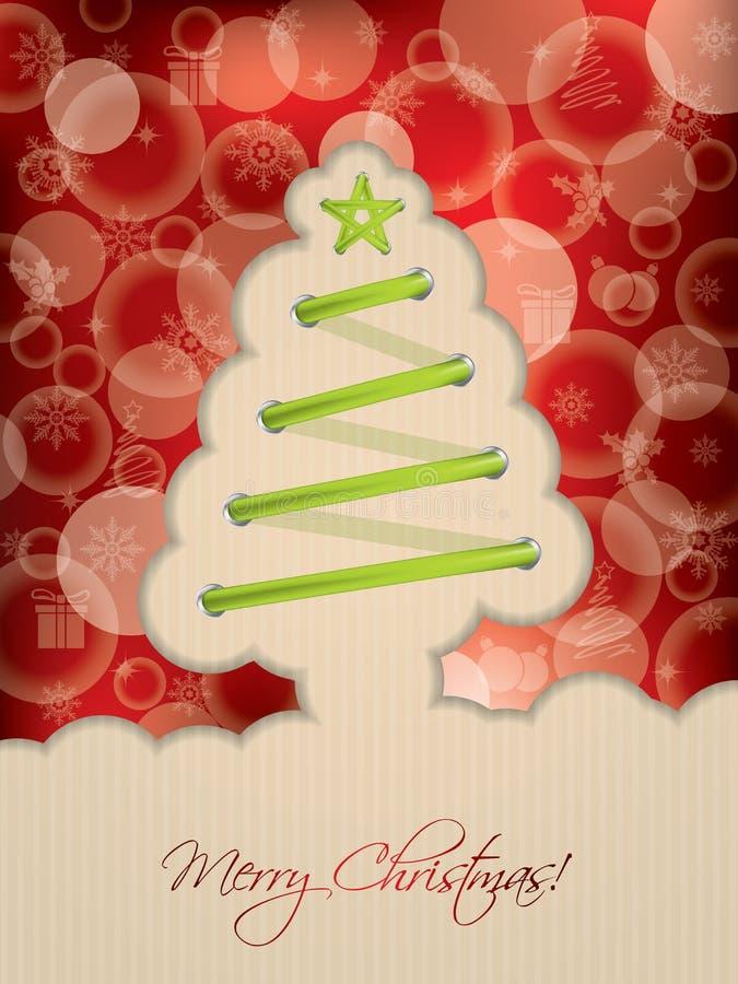 Красная рождественская открытка с шнурком дерева иллюстрация штока