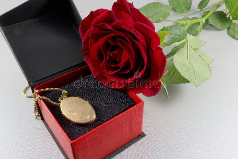 Красная роза и золотой locket в подарочной коробке стоковое фото rf