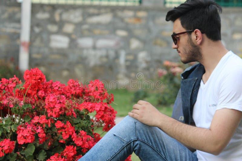Красная роза и я стоковая фотография