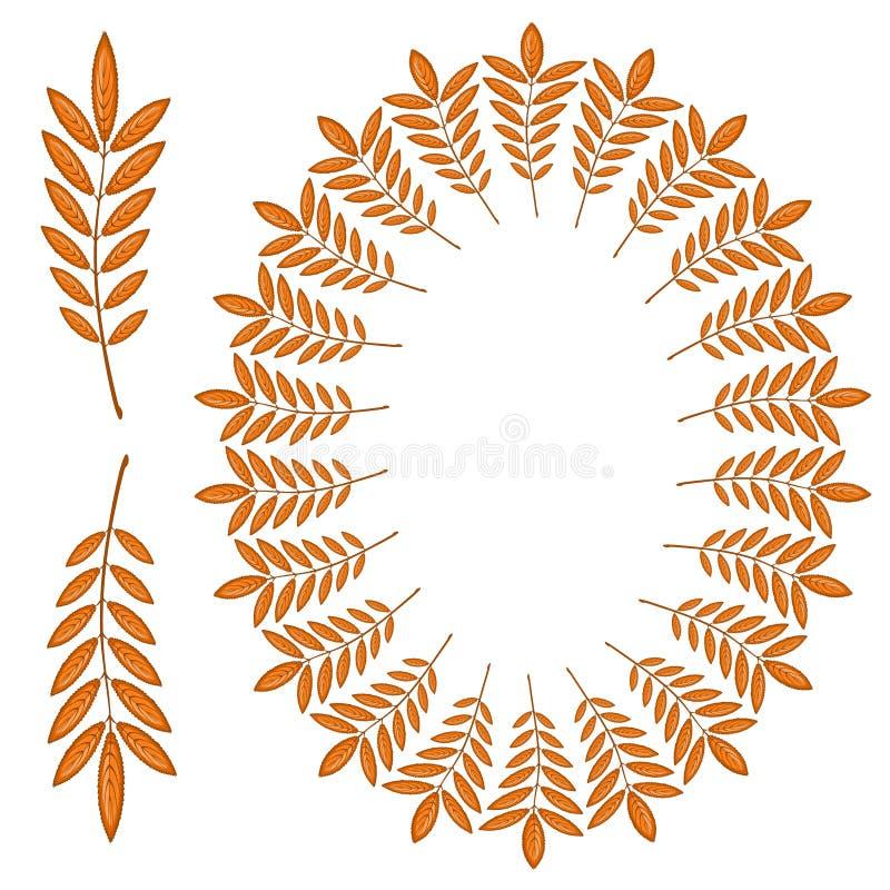 Красная рябина выходит в форме овальной рамки Иллюстрация на теме - золотая осень приходила Падая листья бесплатная иллюстрация