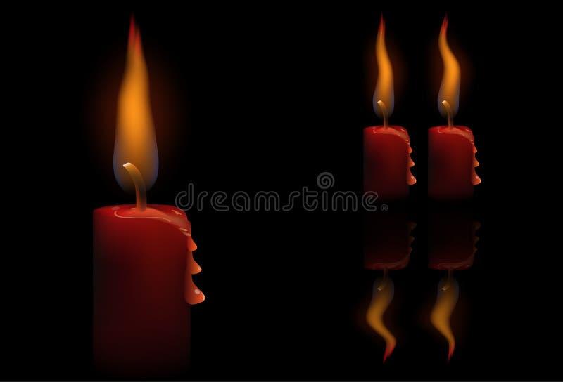 Красная свеча иллюстрация штока