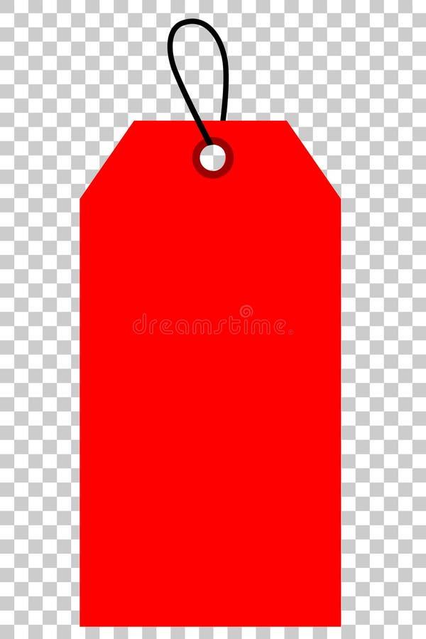 Красная сияющая пустая бирка, на прозрачной предпосылке влияния иллюстрация штока