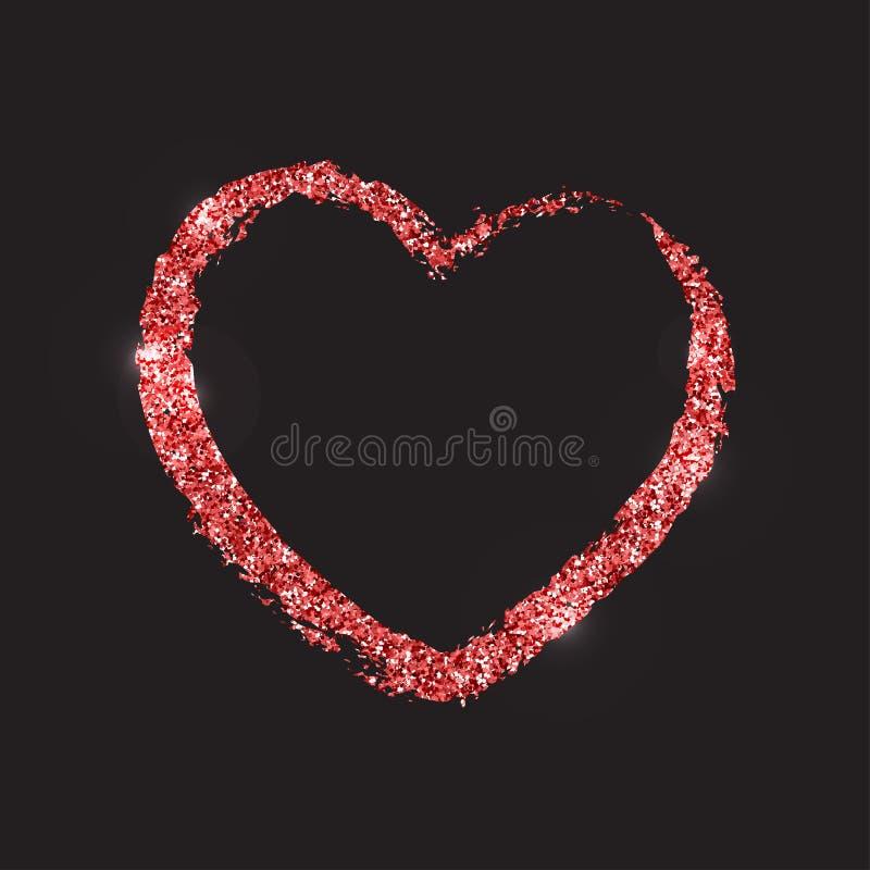 Красная сияющая форма brushstroke сердца Текстура яркого блеска Te вектора бесплатная иллюстрация