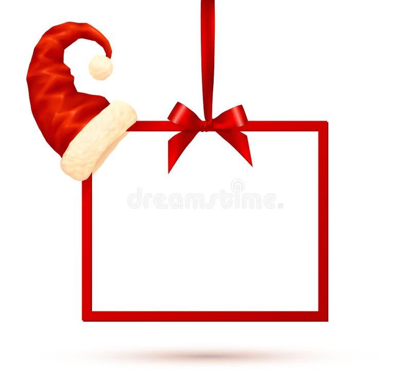 Красная смертная казнь через повешение рамки на шелковистой ленте с шляпой Санты на угле, иллюстрации рождества вектора бесплатная иллюстрация