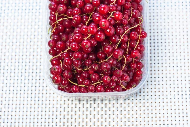 Красная смородина в конце-вверх коробки на деревянной предпосылке Вкусные свежие ягоды, витамины, vegan, естественная, сырцовая е стоковые фотографии rf