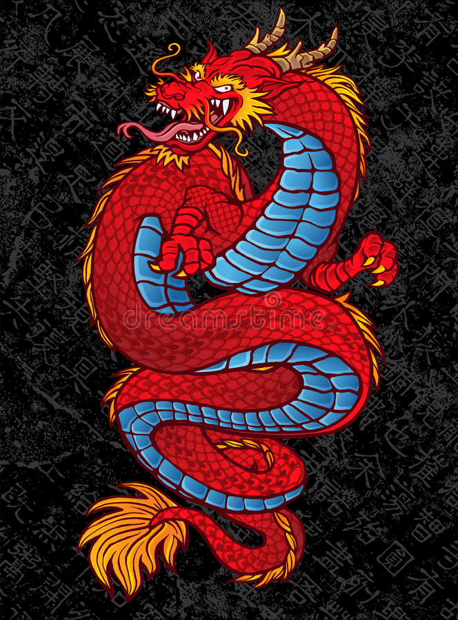 Красная китайская татуировка дракона на черноте иллюстрация штока