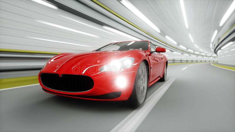 красная спортивная машина в тоннеле управлять быстро Концепция масла перевод 3d бесплатная иллюстрация