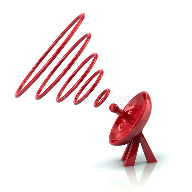 Красная спутниковая иллюстрация параболической антенны 3d иллюстрация вектора