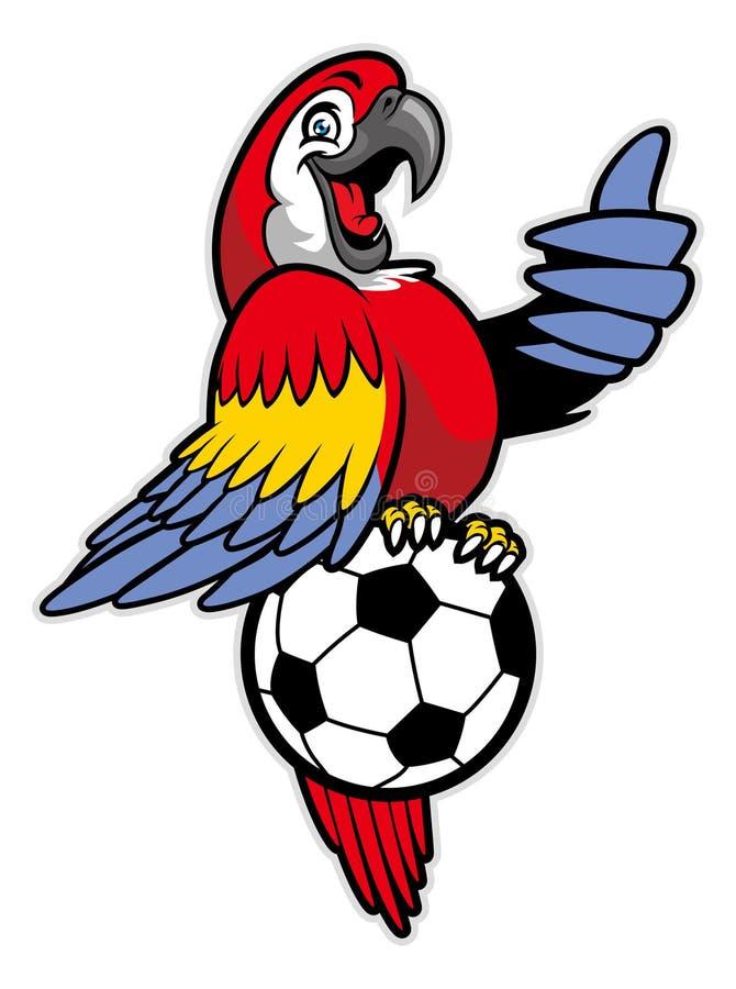 Красная стойка птицы ары над футбольным мячом бесплатная иллюстрация