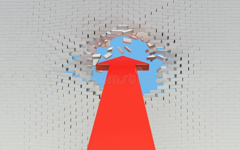 Красная стрелка ломает кирпичную стену бесплатная иллюстрация