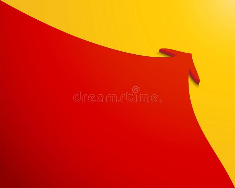 Красная стрелка с ходом на желтой предпосылке стоковое фото