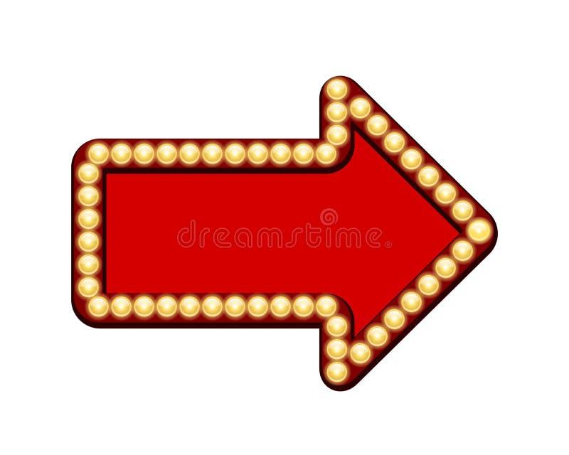 Красная стрелка с электрическими лампочками иллюстрация штока