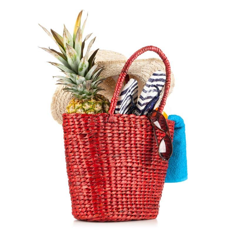 Красная сумка пляжа стоковая фотография